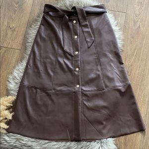 Belle Vere Brown Faux Leather Button Down Skirt